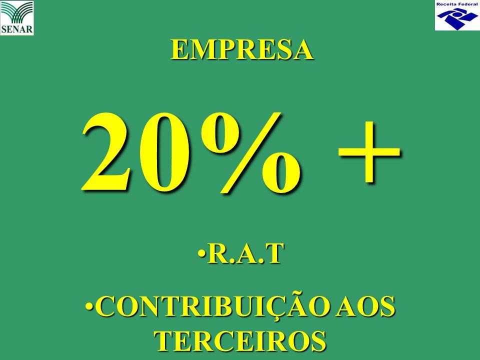 20% + R.A.TR.A.T CONTRIBUIÇÃO AOS TERCEIROSCONTRIBUIÇÃO AOS TERCEIROS EMPRESA