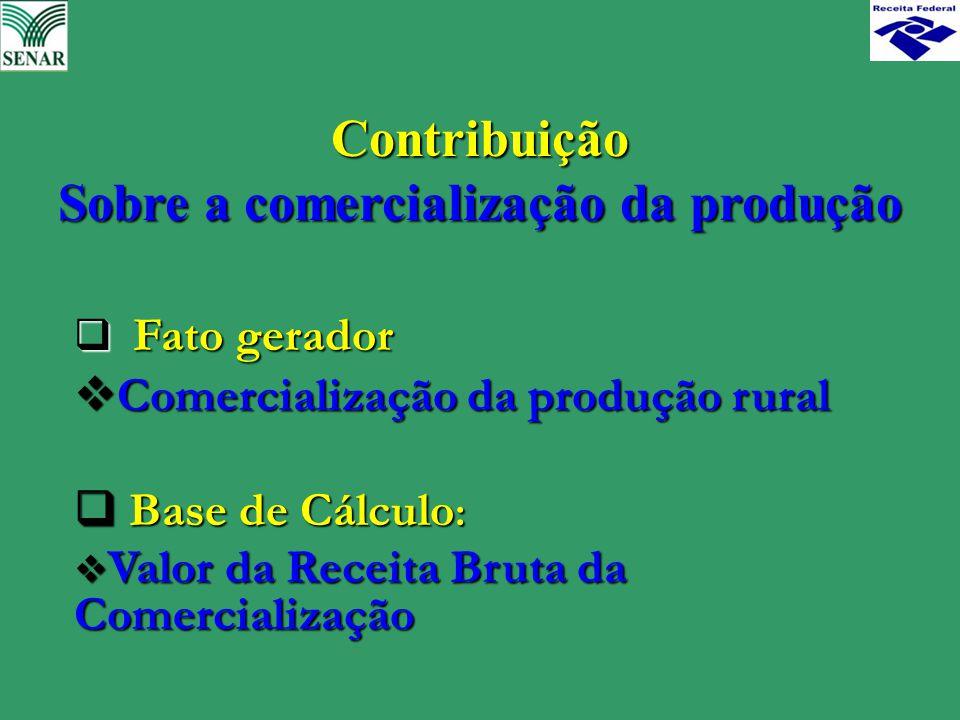 Contribuição Sobre a comercialização da produção  Fato gerador  Comercialização da produção rural  Base de Cálculo :  Valor da Receita Bruta da Co