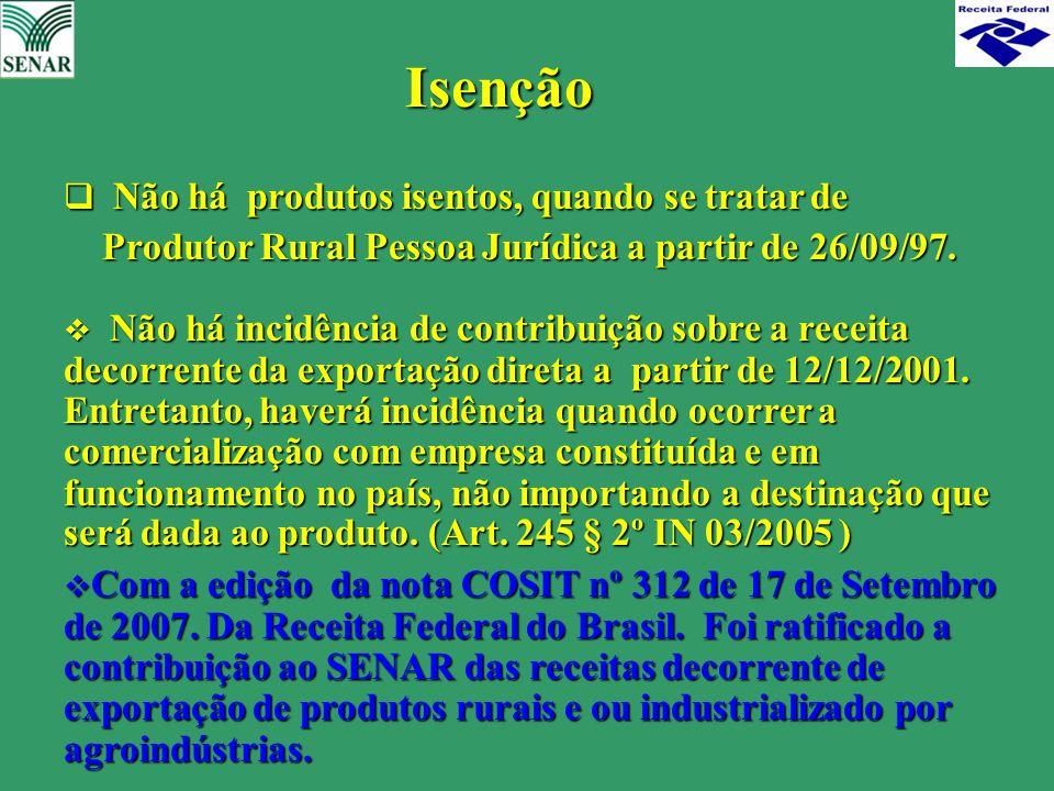 Isenção  Não há produtos isentos, quando se tratar de Produtor Rural Pessoa Jurídica a partir de 26/09/97. Produtor Rural Pessoa Jurídica a partir de