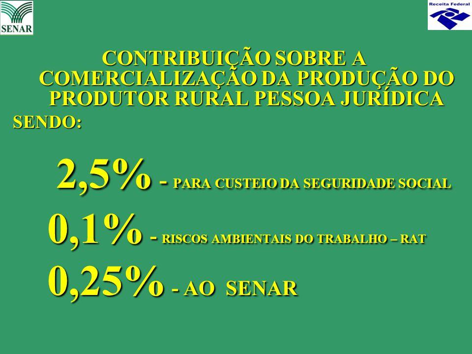 CONTRIBUIÇÃO SOBRE A COMERCIALIZAÇÃO DA PRODUÇÃO DO PRODUTOR RURAL PESSOA JURÍDICA SENDO: 2,5% - PARA CUSTEIO DA SEGURIDADE SOCIAL 2,5% - PARA CUSTEIO