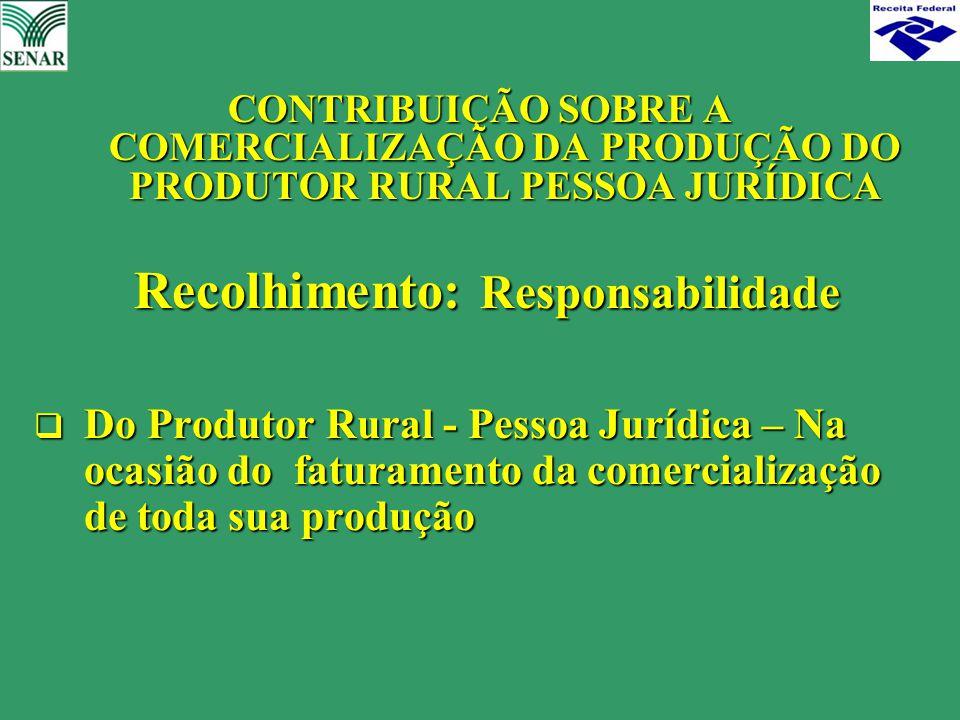 CONTRIBUIÇÃO SOBRE A COMERCIALIZAÇÃO DA PRODUÇÃO DO PRODUTOR RURAL PESSOA JURÍDICA Recolhimento: Responsabilidade Recolhimento: Responsabilidade  Do