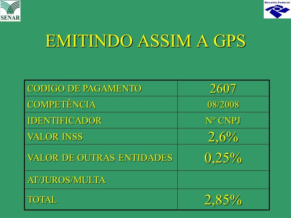 EMITINDO ASSIM A GPS 2,85%TOTAL AT/JUROS/MULTA 0,25% VALOR DE OUTRAS ENTIDADES 2,6% VALOR INSS Nº CNPJ IDENTIFICADOR 08/2008COMPETÊNCIA2607 CODIGO DE