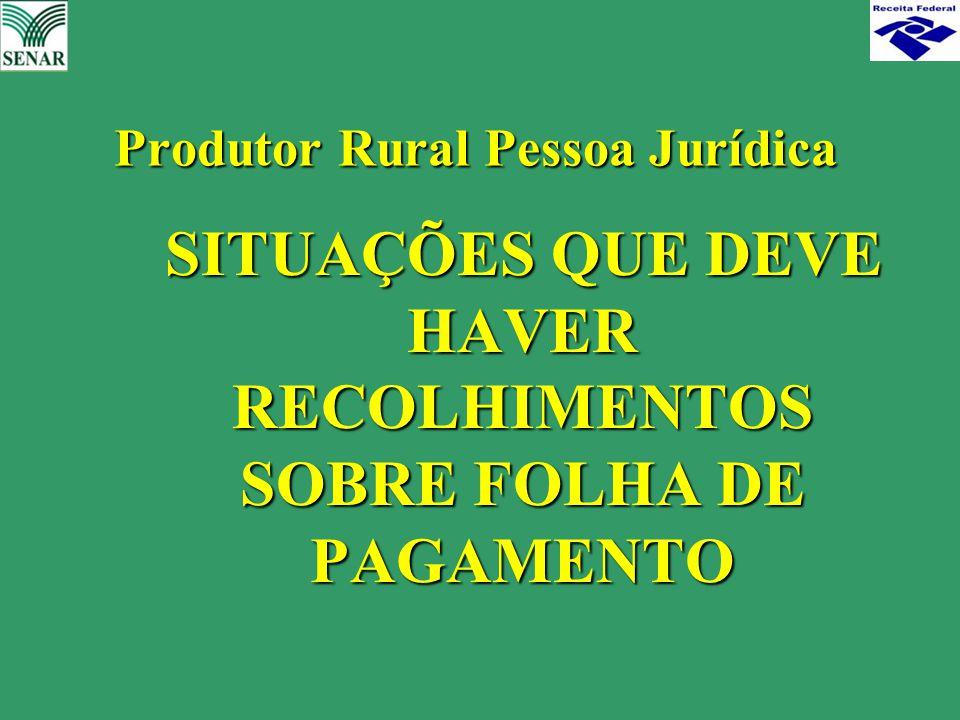 SITUAÇÕES QUE DEVE HAVER RECOLHIMENTOS SOBRE FOLHA DE PAGAMENTO SITUAÇÕES QUE DEVE HAVER RECOLHIMENTOS SOBRE FOLHA DE PAGAMENTO Produtor Rural Pessoa