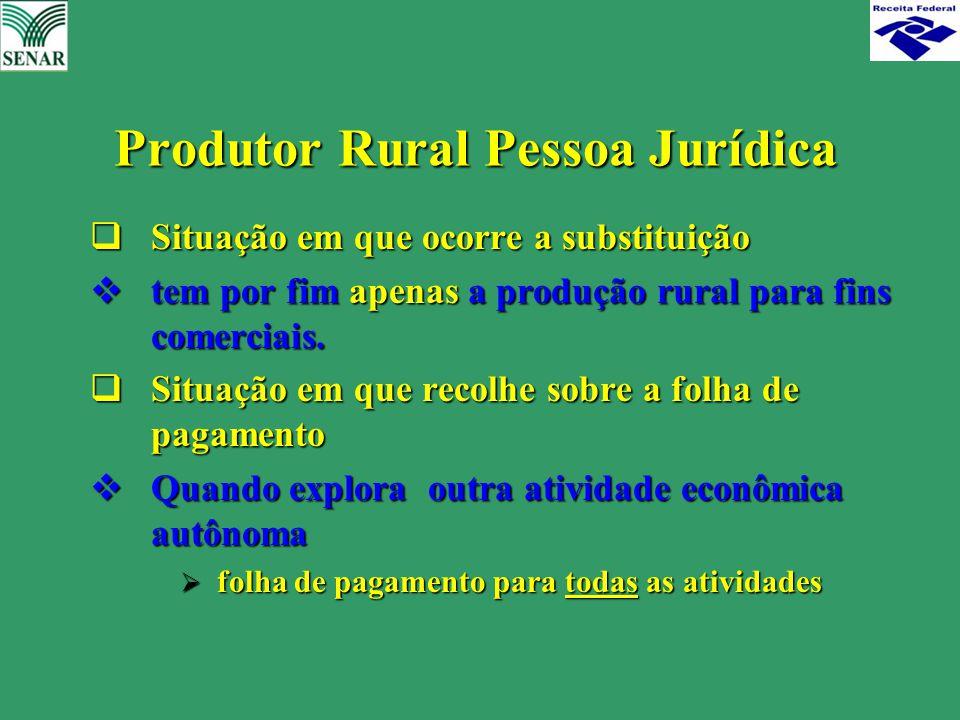  Situação em que ocorre a substituição  tem por fim apenas a produção rural para fins comerciais.  Situação em que recolhe sobre a folha de pagamen