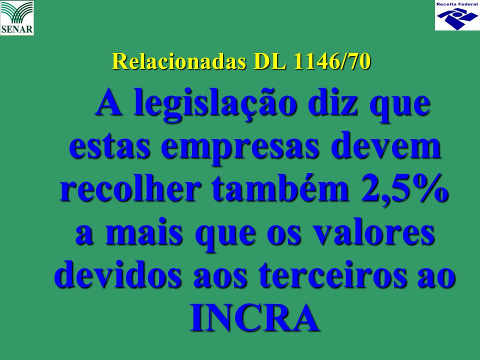 Relacionadas DL 1146/70 A legislação diz que estas empresas devem recolher também 2,5% a mais que os valores devidos aos terceiros ao INCRA A legislaç