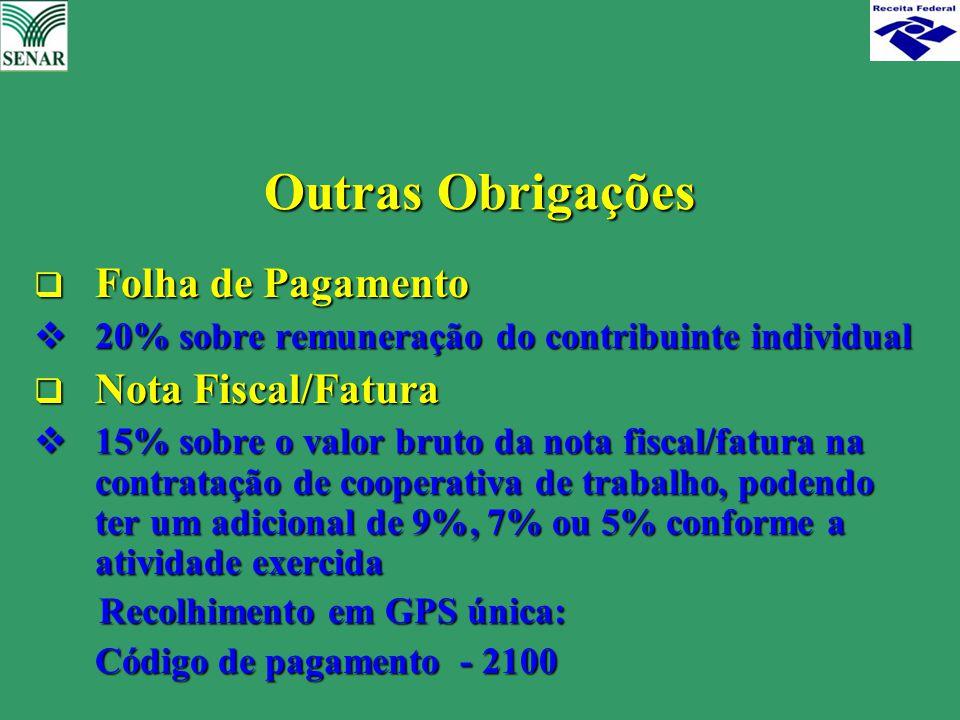 Outras Obrigações  Folha de Pagamento  20% sobre remuneração do contribuinte individual  Nota Fiscal/Fatura  15% sobre o valor bruto da nota fisca