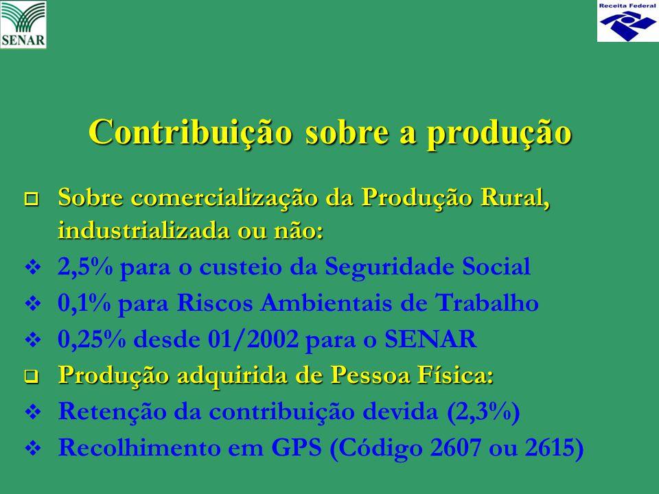 Contribuição sobre a produção o Sobre comercialização da Produção Rural, industrializada ou não:  2,5% para o custeio da Seguridade Social  0,1% par