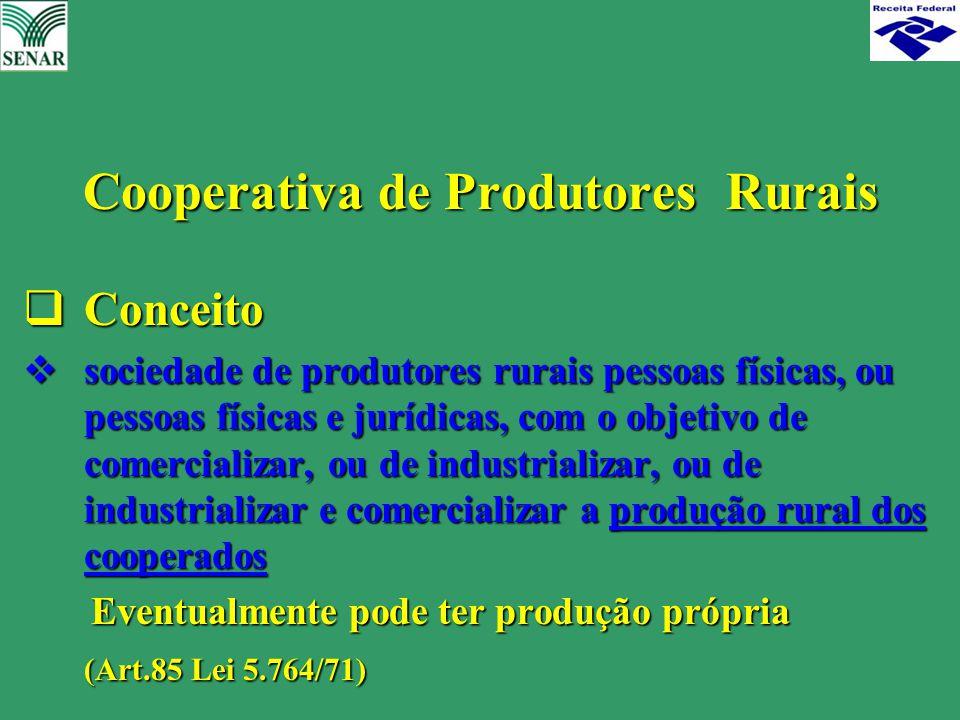 Cooperativa de Produtores Rurais  Conceito  sociedade de produtores rurais pessoas físicas, ou pessoas físicas e jurídicas, com o objetivo de comerc
