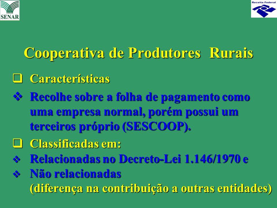  Características  Recolhe sobre a folha de pagamento como uma empresa normal, porém possui um terceiros próprio (SESCOOP).  Classificadas em:  Rel