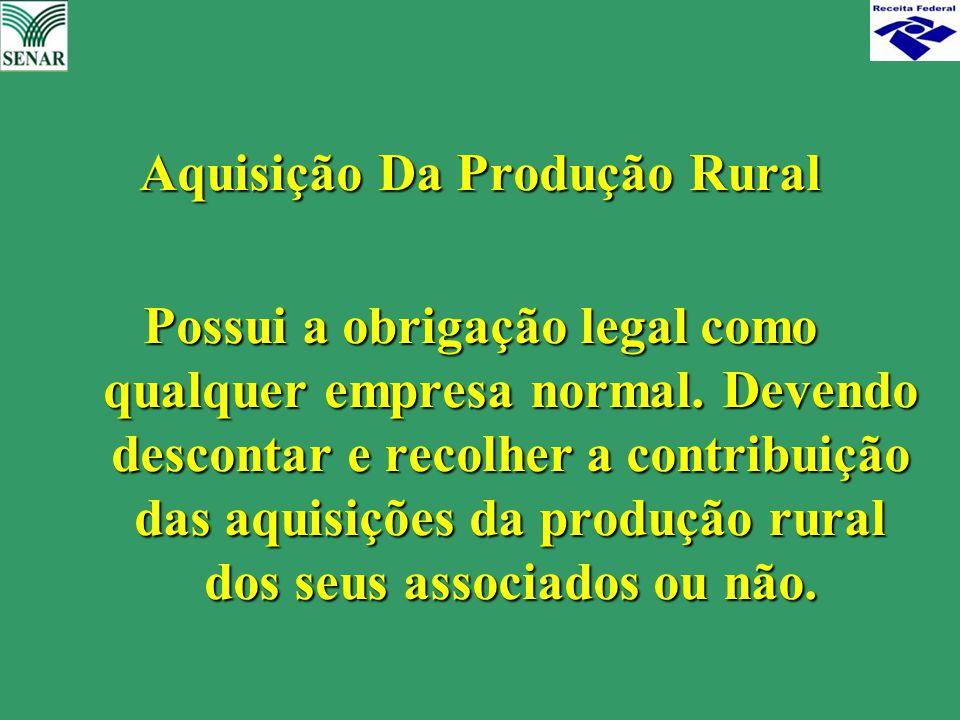Aquisição Da Produção Rural Possui a obrigação legal como qualquer empresa normal. Devendo descontar e recolher a contribuição das aquisições da produ
