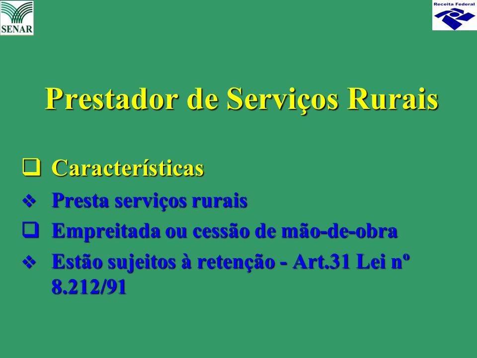 Prestador de Serviços Rurais Prestador de Serviços Rurais  Características  Presta serviços rurais  Empreitada ou cessão de mão-de-obra  Estão suj