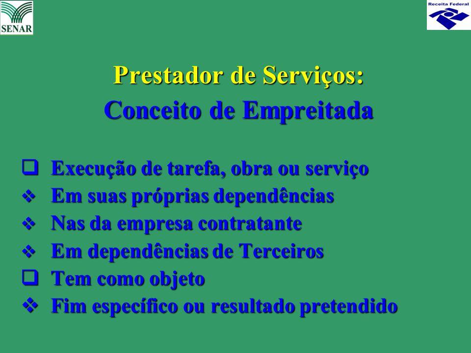 Prestador de Serviços: Prestador de Serviços: Conceito de Empreitada Conceito de Empreitada  Execução de tarefa, obra ou serviço  Em suas próprias d