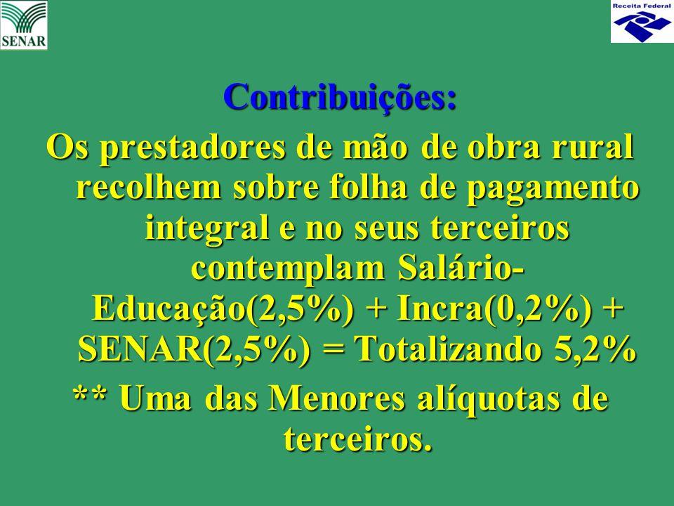 Contribuições: Os prestadores de mão de obra rural recolhem sobre folha de pagamento integral e no seus terceiros contemplam Salário- Educação(2,5%) +