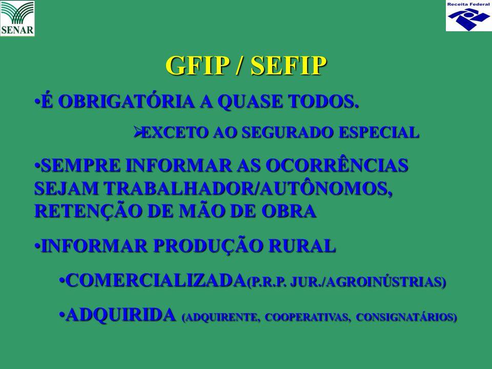 GFIP / SEFIP É OBRIGATÓRIA A QUASE TODOS.É OBRIGATÓRIA A QUASE TODOS.  EXCETO AO SEGURADO ESPECIAL SEMPRE INFORMAR AS OCORRÊNCIAS SEJAM TRABALHADOR/A