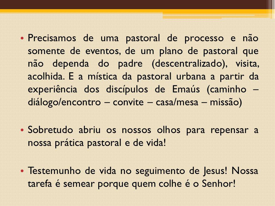 Precisamos de uma pastoral de processo e não somente de eventos, de um plano de pastoral que não dependa do padre (descentralizado), visita, acolhida.