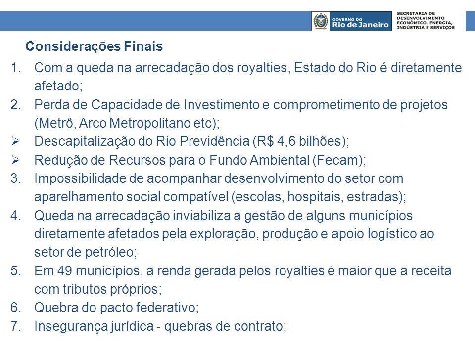 1.Com a queda na arrecadação dos royalties, Estado do Rio é diretamente afetado; 2.Perda de Capacidade de Investimento e comprometimento de projetos (