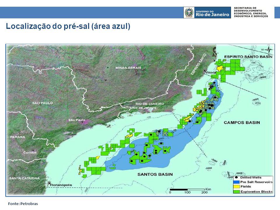 Localização do pré-sal (área azul) Fonte: Petrobras