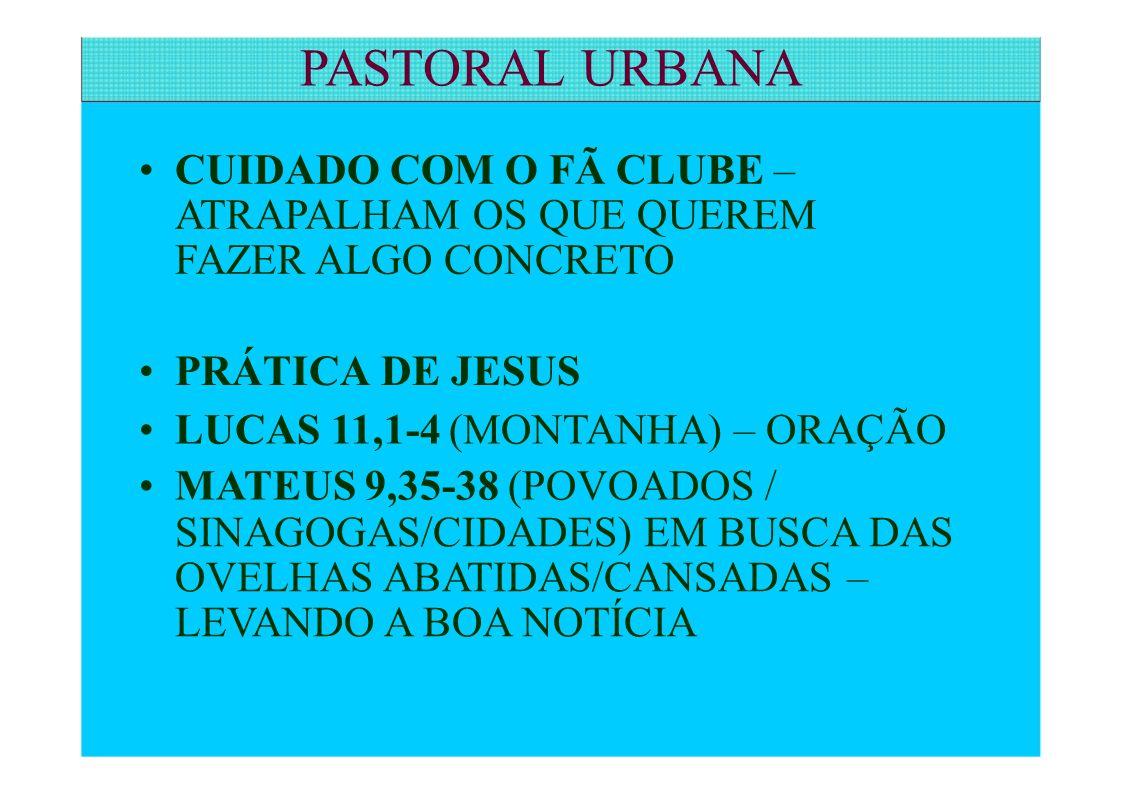 CUIDADO COM O FÃ CLUBE – ATRAPALHAM OS QUE QUEREM FAZER ALGO CONCRETO PRÁTICA DE JESUS LUCAS 11,1-4 (MONTANHA) – ORAÇÃO MATEUS 9,35-38 (POVOADOS / SIN