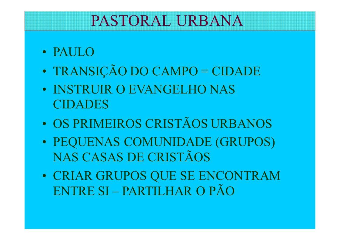 PAULO TRANSIÇÃO DO CAMPO = CIDADE INSTRUIR O EVANGELHO NAS CIDADES OS PRIMEIROS CRISTÃOS URBANOS PEQUENAS COMUNIDADE (GRUPOS) NAS CASAS DE CRISTÃOS CR