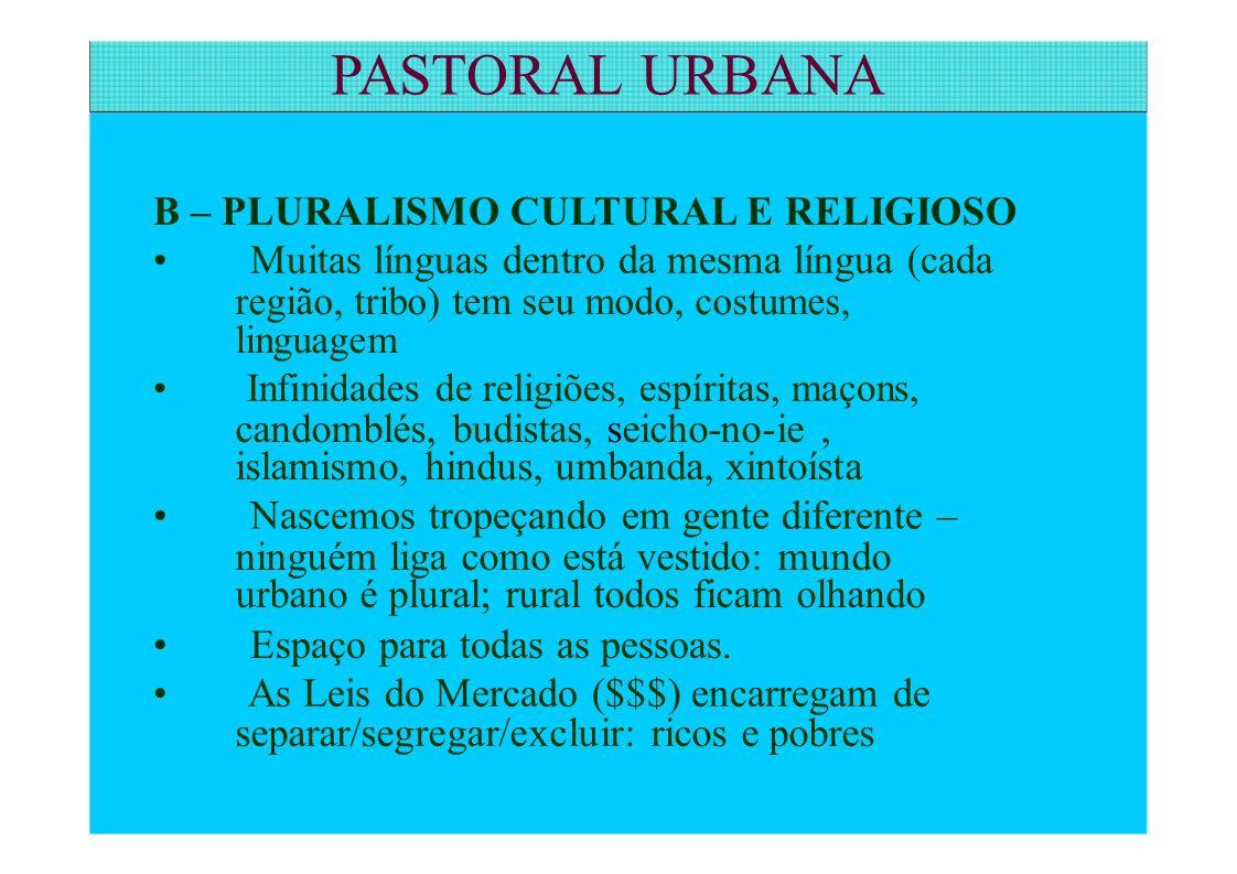 B – PLURALISMO CULTURAL E RELIGIOSO Muitas línguas dentro da mesma língua (cada região, tribo) tem seu modo, costumes, linguagem Infinidades de religi