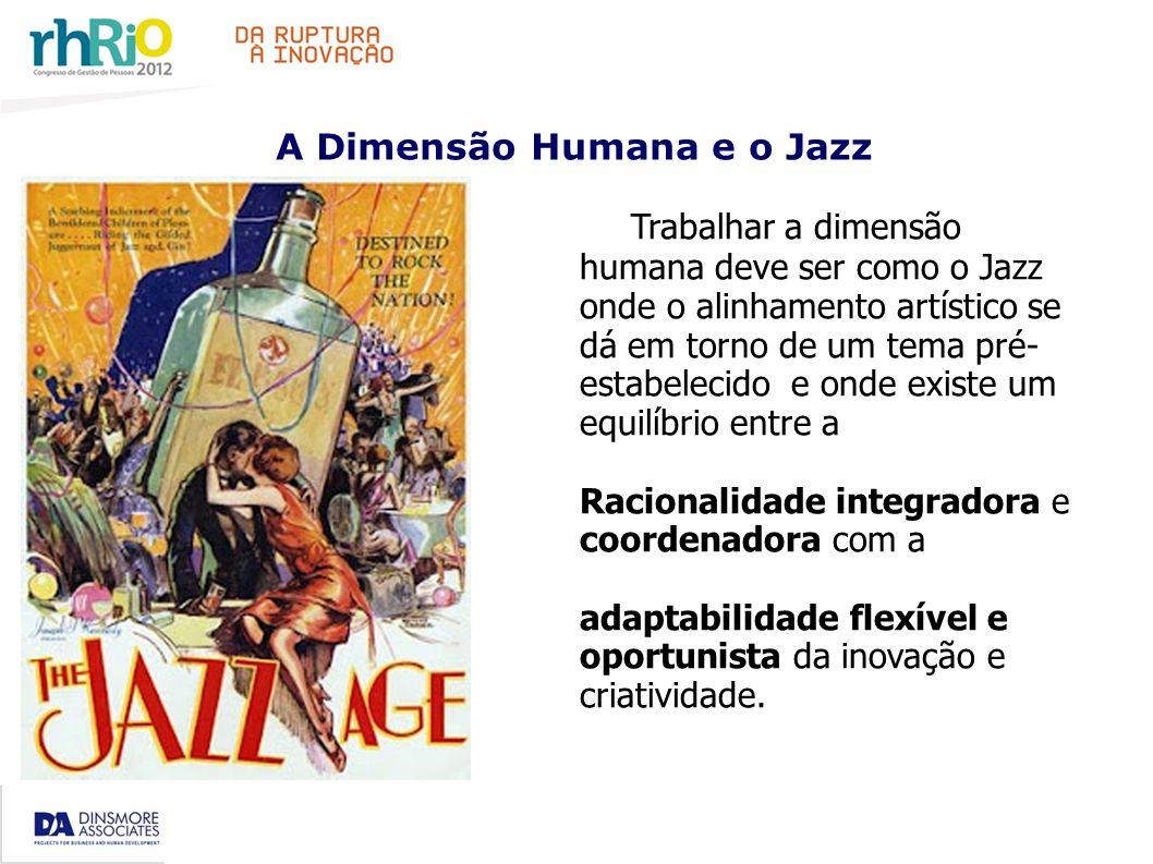 A Dimensão Humana e o Jazz Trabalhar a dimensão humana deve ser como o Jazz onde o alinhamento artístico se dá em torno de um tema pré- estabelecido e onde existe um equilíbrio entre a Racionalidade integradora e coordenadora com a adaptabilidade flexível e oportunista da inovação e criatividade.