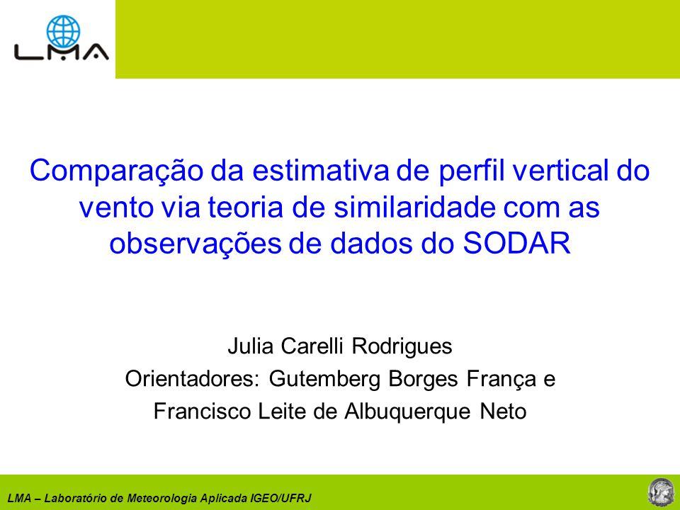 LMA – Laboratório de Meteorologia Aplicada IGEO/UFRJ Comparação da estimativa de perfil vertical do vento via teoria de similaridade com as observaçõe