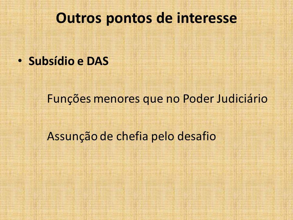 Outros pontos de interesse Subsídio e DAS Funções menores que no Poder Judiciário Assunção de chefia pelo desafio