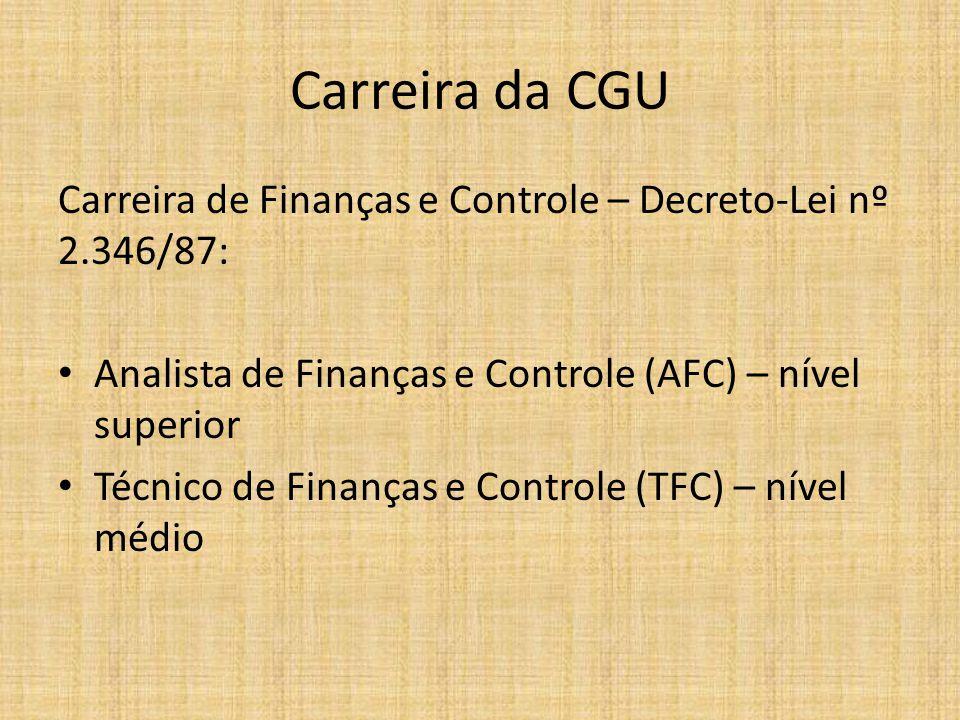 Carreira da CGU Carreira de Finanças e Controle – Decreto-Lei nº 2.346/87: Analista de Finanças e Controle (AFC) – nível superior Técnico de Finanças