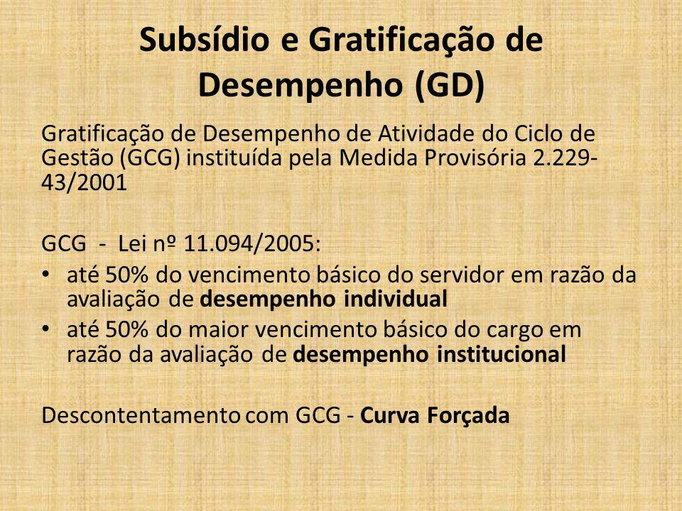 Subsídio e Gratificação de Desempenho (GD) Gratificação de Desempenho de Atividade do Ciclo de Gestão (GCG) instituída pela Medida Provisória 2.229- 4