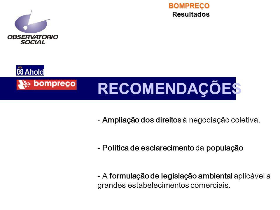 RECOMENDAÇÕES - Ampliação dos direitos à negociação coletiva. - Política de esclarecimento da população - A formulação de legislação ambiental aplicáv