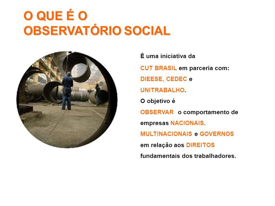 O QUE É O OBSERVATÓRIO SOCIAL É uma iniciativa da CUT BRASIL em parceria com: DIEESE, CEDEC e UNITRABALHO. O objetivo é OBSERVAR o comportamento de em
