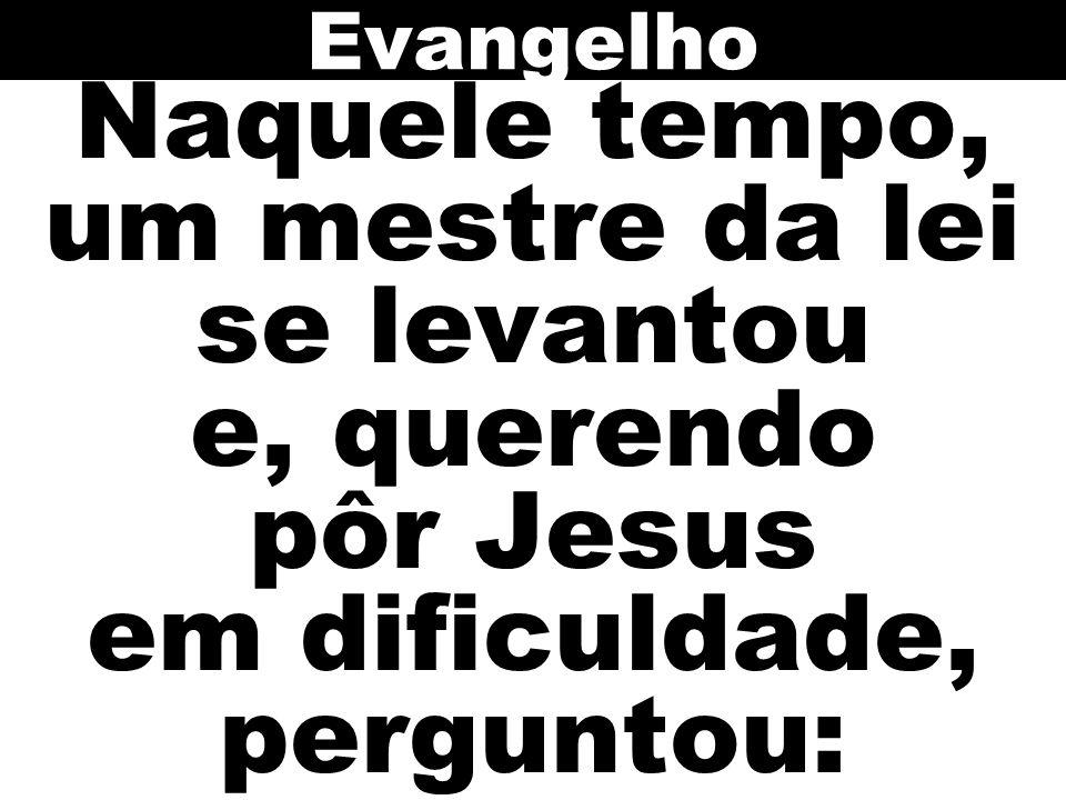 Naquele tempo, um mestre da lei se levantou e, querendo pôr Jesus em dificuldade, perguntou: Evangelho