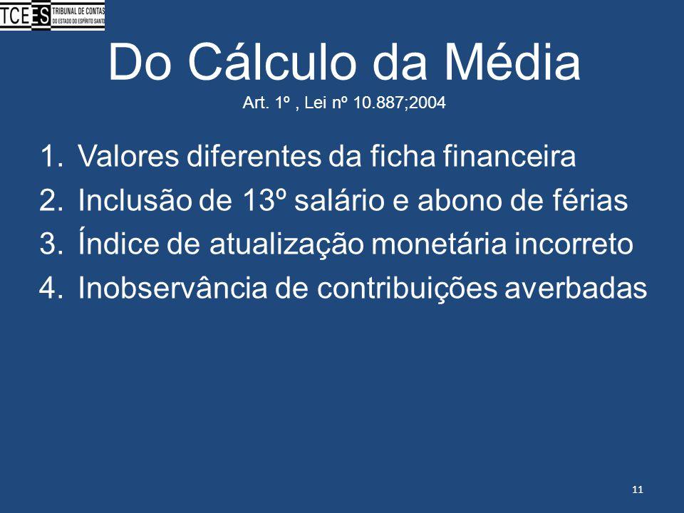 Do Cálculo da Média Art. 1º, Lei nº 10.887;2004 1.Valores diferentes da ficha financeira 2.Inclusão de 13º salário e abono de férias 3.Índice de atual