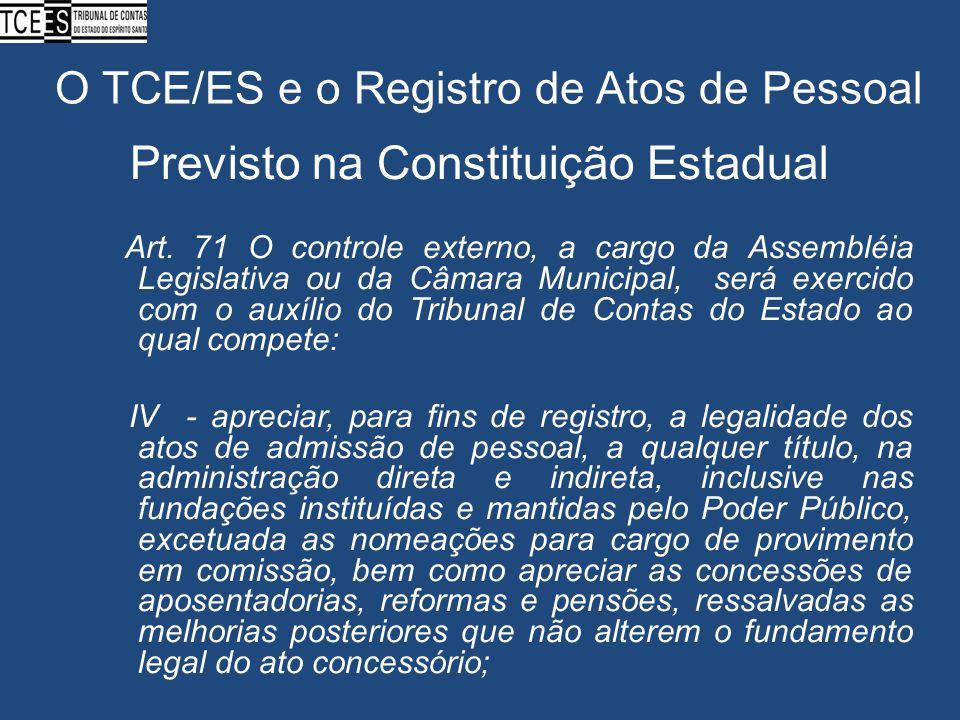 O TCE/ES e o Registro de Atos de Pessoal Previsto na Constituição Estadual Art. 71 O controle externo, a cargo da Assembléia Legislativa ou da Câmara