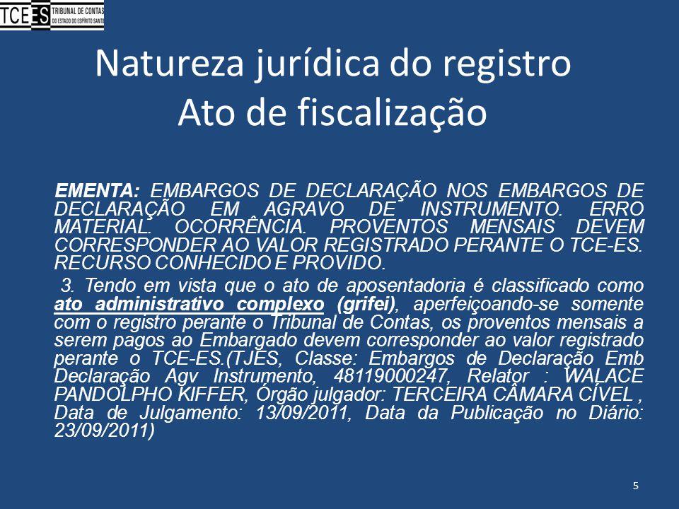 Natureza jurídica do registro Ato de fiscalização EMENTA: EMBARGOS DE DECLARAÇÃO NOS EMBARGOS DE DECLARAÇÃO EM AGRAVO DE INSTRUMENTO. ERRO MATERIAL. O