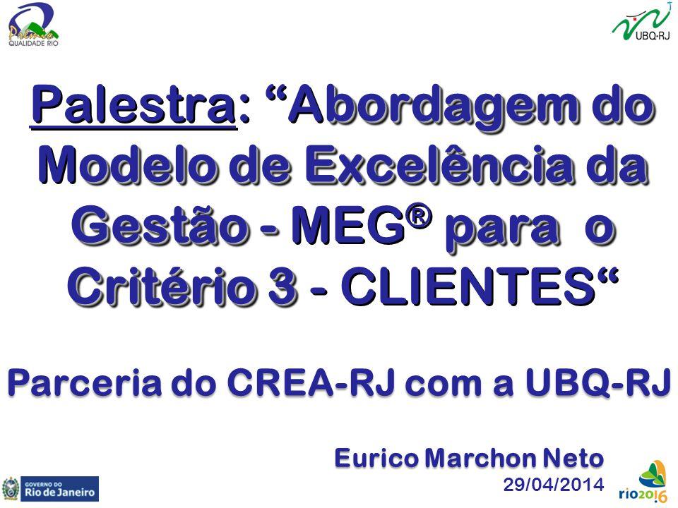 """bordagem do odelo de Excelência da Gestão -para o Critério 3 Palestra: """"Abordagem do Modelo de Excelência da Gestão - MEG ® para o Critério 3 - CLIENT"""