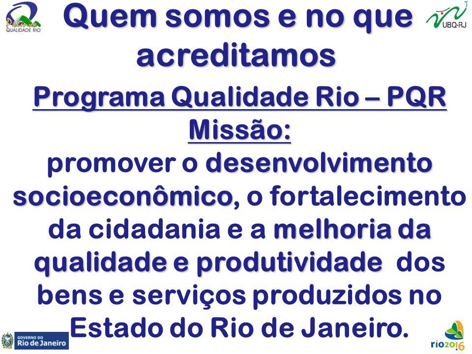 Quem somos e no que Quem somos e no queacreditamos Programa Qualidade Rio – PQR Missão: desenvolvimento promover o desenvolvimento socioeconômico soci