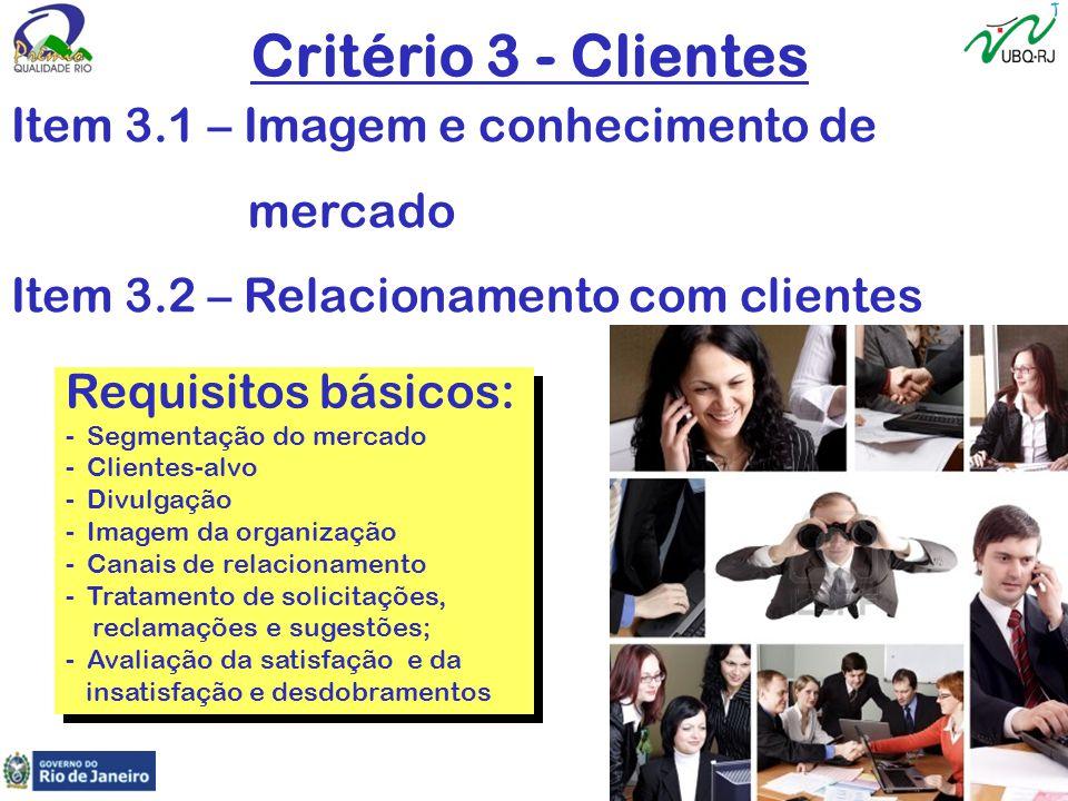 Critério 3 - Clientes Item 3.1 – Imagem e conhecimento de mercado Item 3.2 – Relacionamento com clientes Requisitos básicos: -Segmentação do mercado -