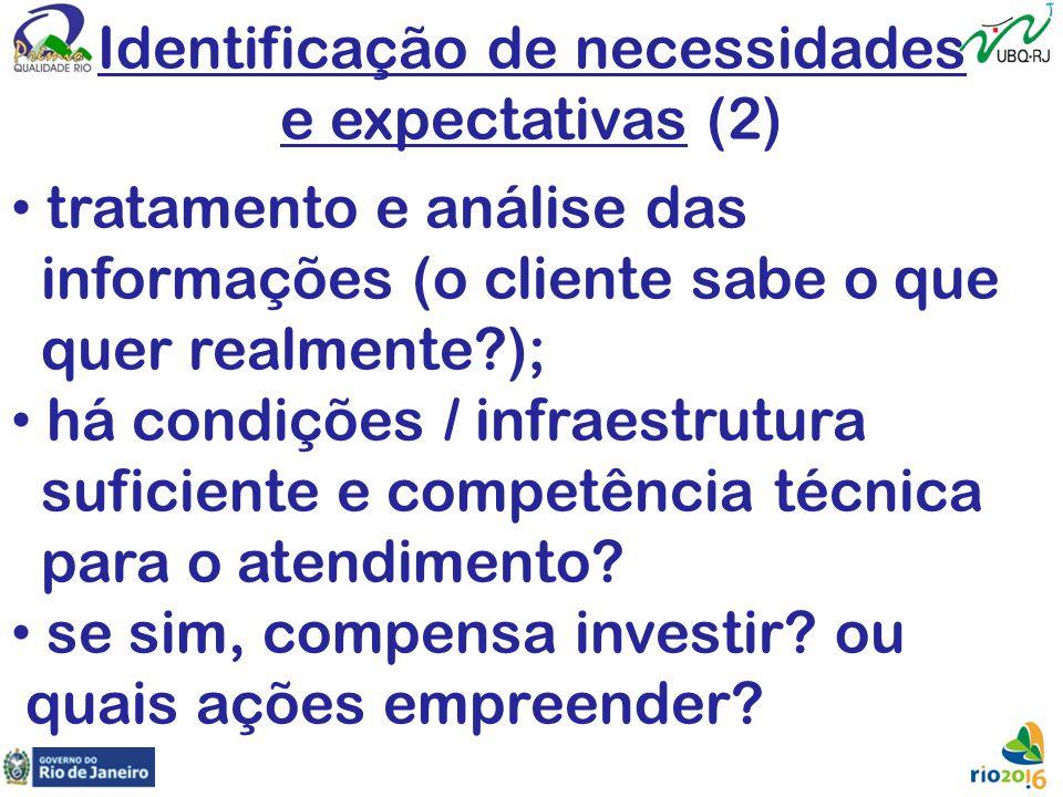 Identificação de necessidades e expectativas (2) tratamento e análise das informações (o cliente sabe o que quer realmente?); há condições / infraestr