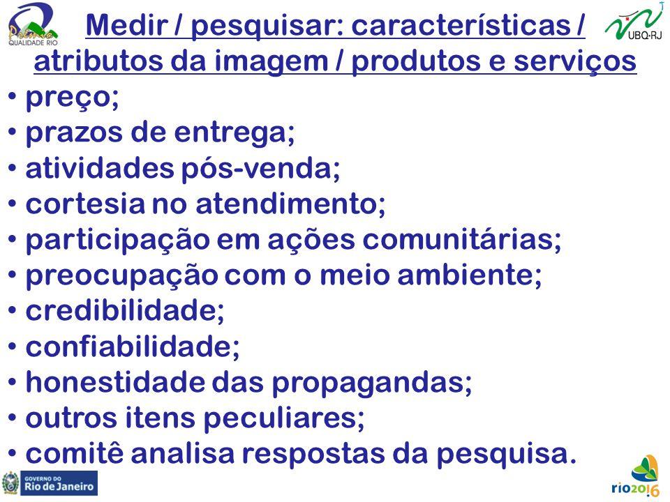 Medir / pesquisar: características / atributos da imagem / produtos e serviços preço; prazos de entrega; atividades pós-venda; cortesia no atendimento