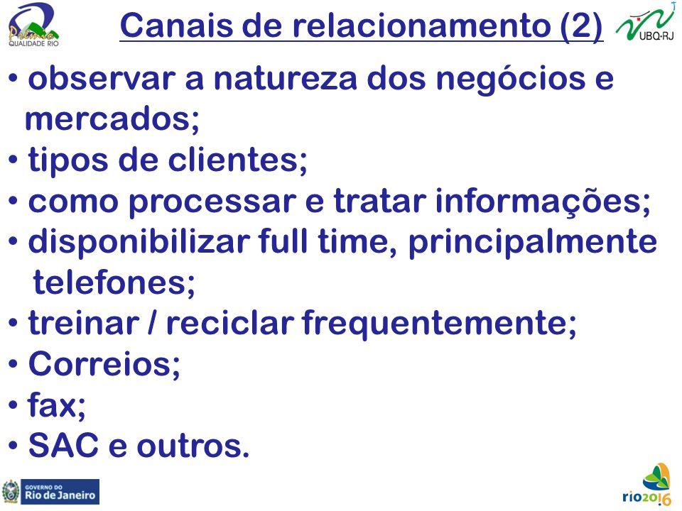 Canais de relacionamento (2) observar a natureza dos negócios e mercados; tipos de clientes; como processar e tratar informações; disponibilizar full