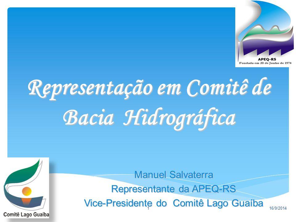 Representação em Comitê de Bacia Hidrográfica 16/9/20141 Manuel Salvaterra Representante da APEQ-RS Vice-Presidente do Comitê Lago Guaíba