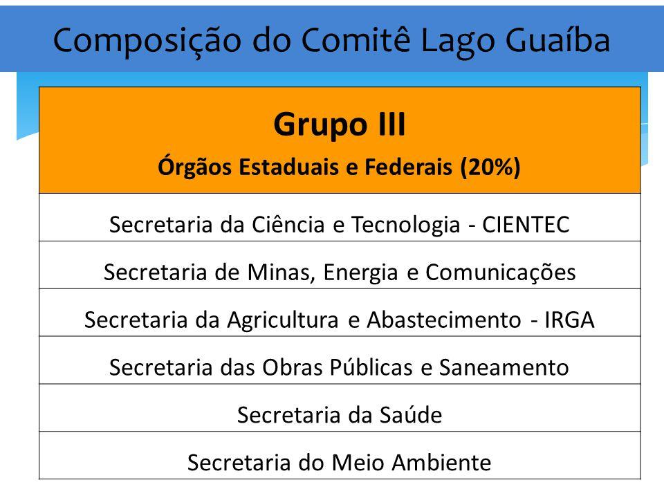 Composição do Comitê Lago Guaíba Grupo III Órgãos Estaduais e Federais (20%) Secretaria da Ciência e Tecnologia - CIENTEC Secretaria de Minas, Energia