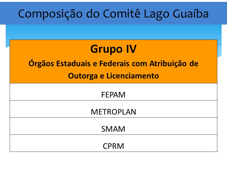 Composição do Comitê Lago Guaíba Grupo IV Órgãos Estaduais e Federais com Atribuição de Outorga e Licenciamento FEPAM METROPLAN SMAM CPRM