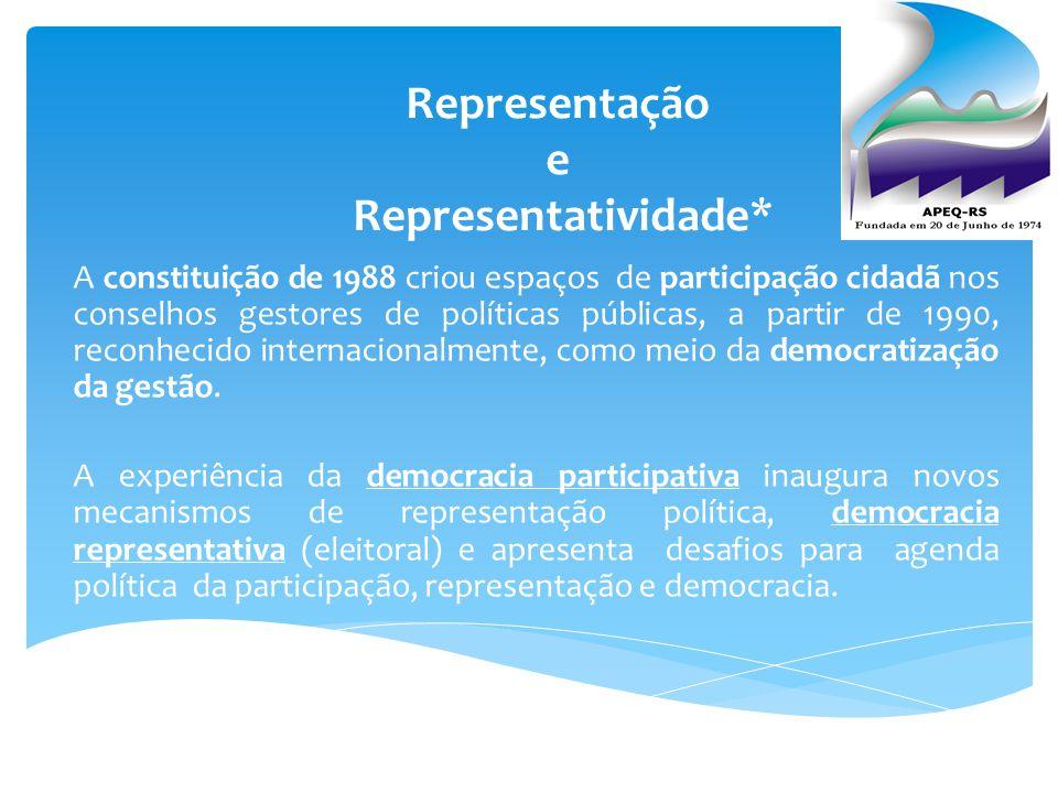 Representação e Representatividade* A constituição de 1988 criou espaços de participação cidadã nos conselhos gestores de políticas públicas, a partir