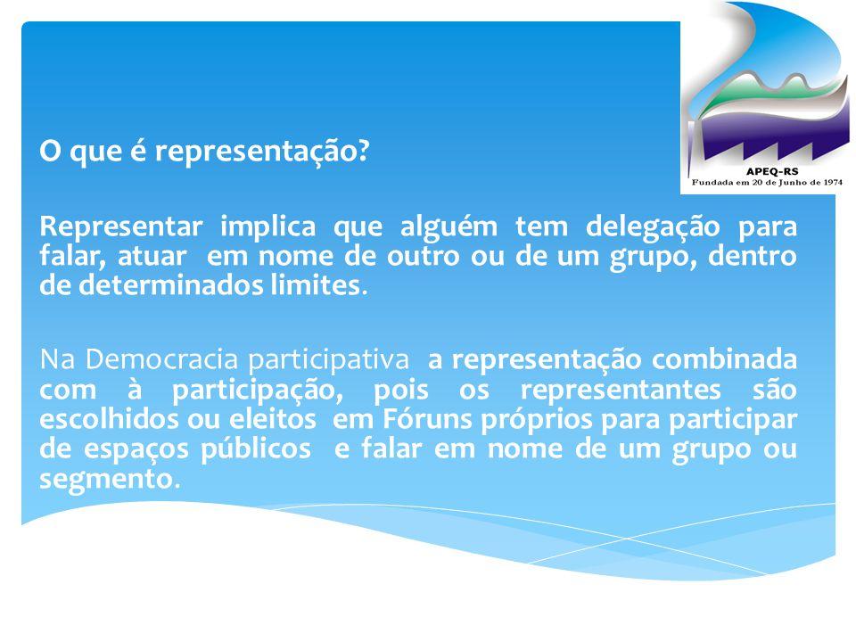 O que é representação? Representar implica que alguém tem delegação para falar, atuar em nome de outro ou de um grupo, dentro de determinados limites.