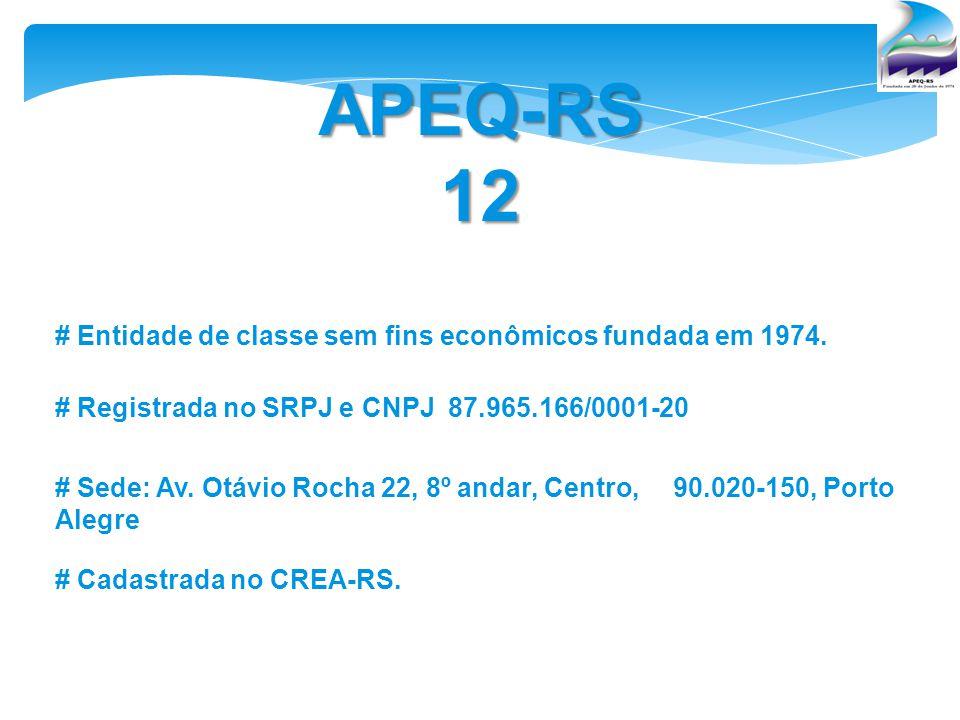 APEQ-RS12 # Entidade de classe sem fins econômicos fundada em 1974. # Registrada no SRPJ e CNPJ 87.965.166/0001-20 # Sede: Av. Otávio Rocha 22, 8º and