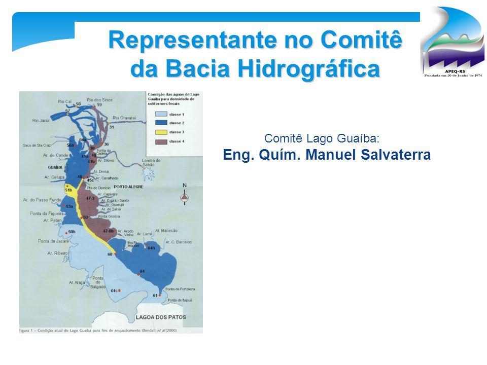 Representante no Comitê da Bacia Hidrográfica Comitê Lago Guaíba: Eng. Quím. Manuel Salvaterra