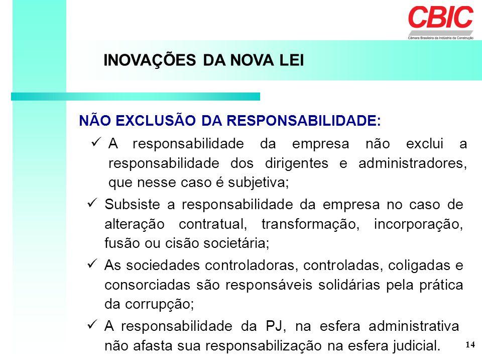 A responsabilidade da empresa não exclui a responsabilidade dos dirigentes e administradores, que nesse caso é subjetiva; INOVAÇÕES DA NOVA LEI NÃO EX