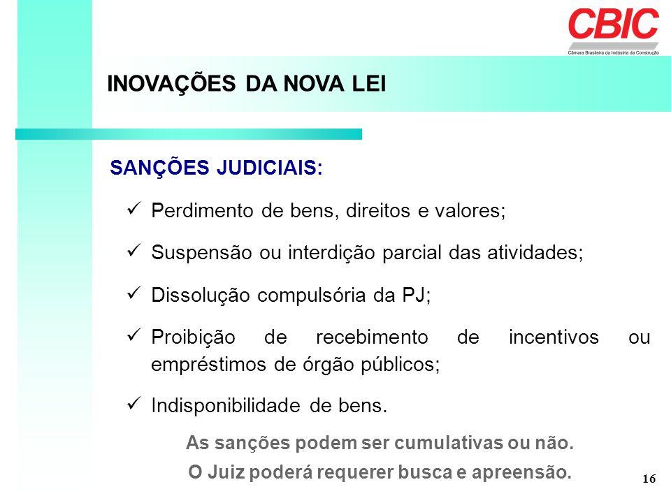 Perdimento de bens, direitos e valores; INOVAÇÕES DA NOVA LEI SANÇÕES JUDICIAIS: Suspensão ou interdição parcial das atividades; As sanções podem ser cumulativas ou não.
